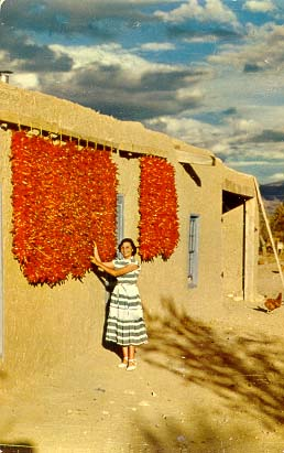 Drying chiles in New Mexico.